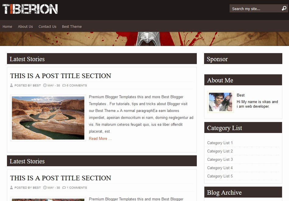 Tiberion Simple Blogger Template Free Download 2018