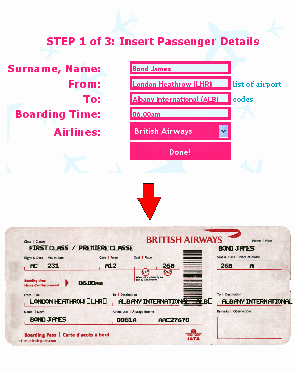 Ticket O Matic Fake Airline Ticket Generator