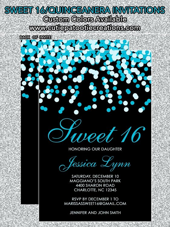 Tiffany Blue & Black Confetti Sweet 16 Invitations
