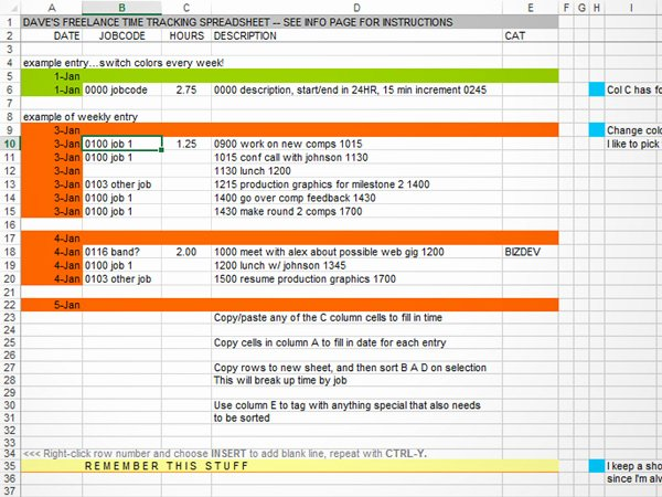 Time Tracking In Excel Dave Seah