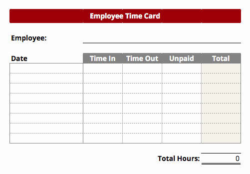 Timecard Templates Excel