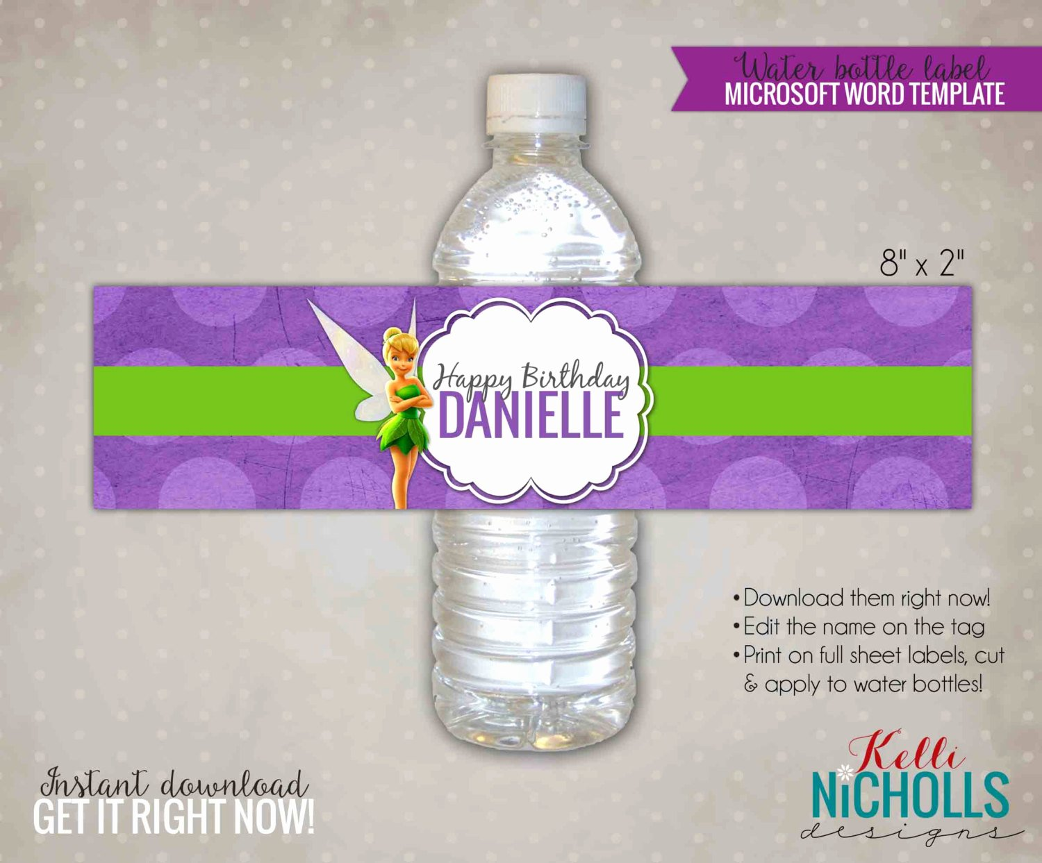 Tinkerbell Water Bottle Label Template by Kellinichollsdesigns