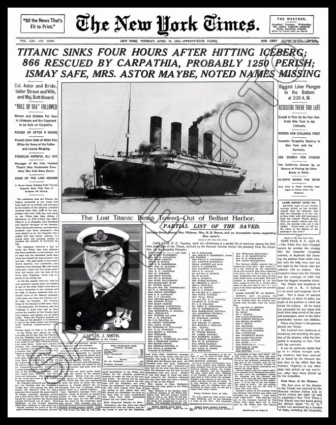 Titanic Sinks 11x14 1912 New York Times