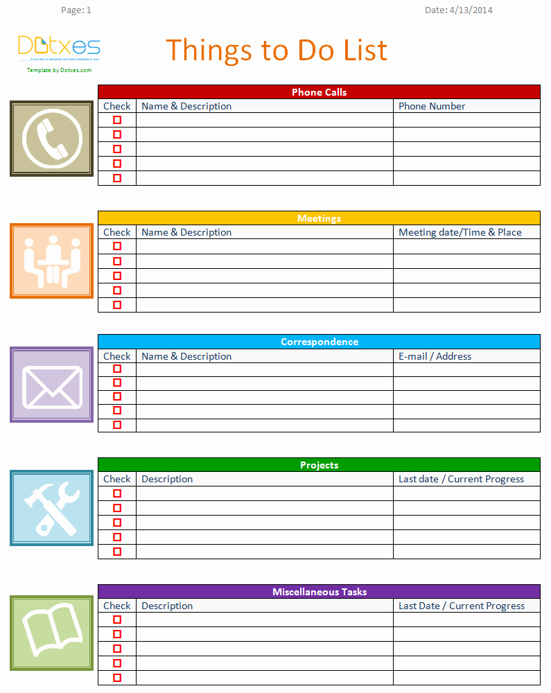 To Do List Template Business Version Dotxes
