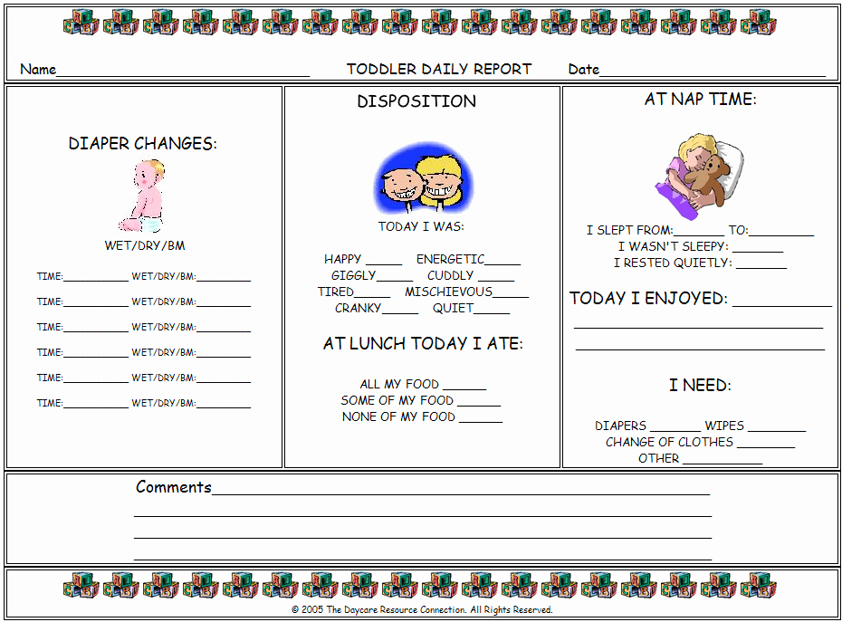 Toddler Daily Report Day Care Resource …