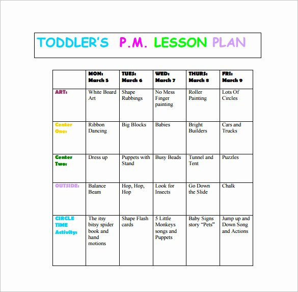 sample toddlers lesson plan