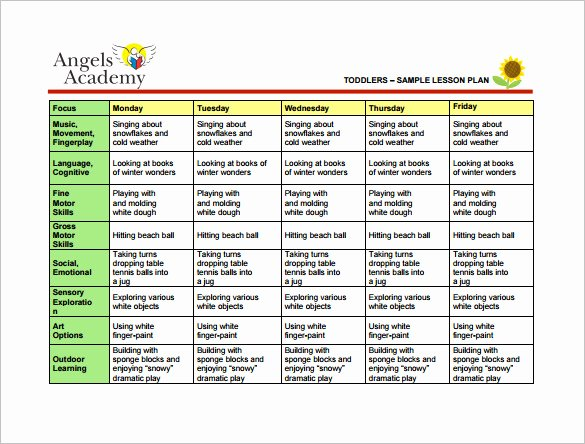 Toddler Lesson Plan Template 9 Free Sample Example