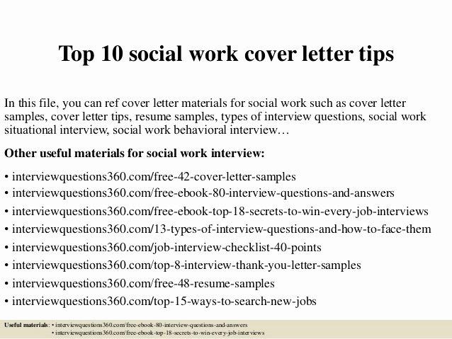 Top 10 social Work Cover Letter Tips