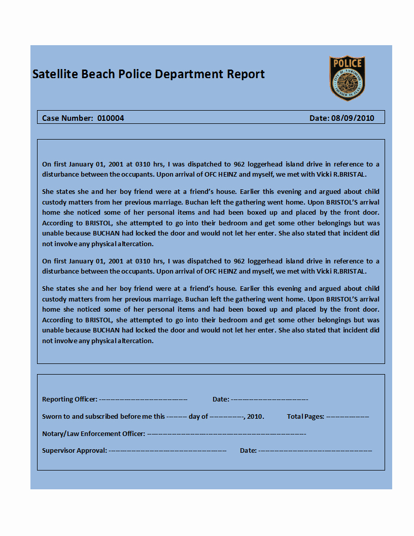 Top 4 Samples Police Report Templates Word Templates