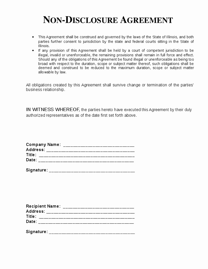 Top 5 Free Non Disclosure Agreement Templates Word
