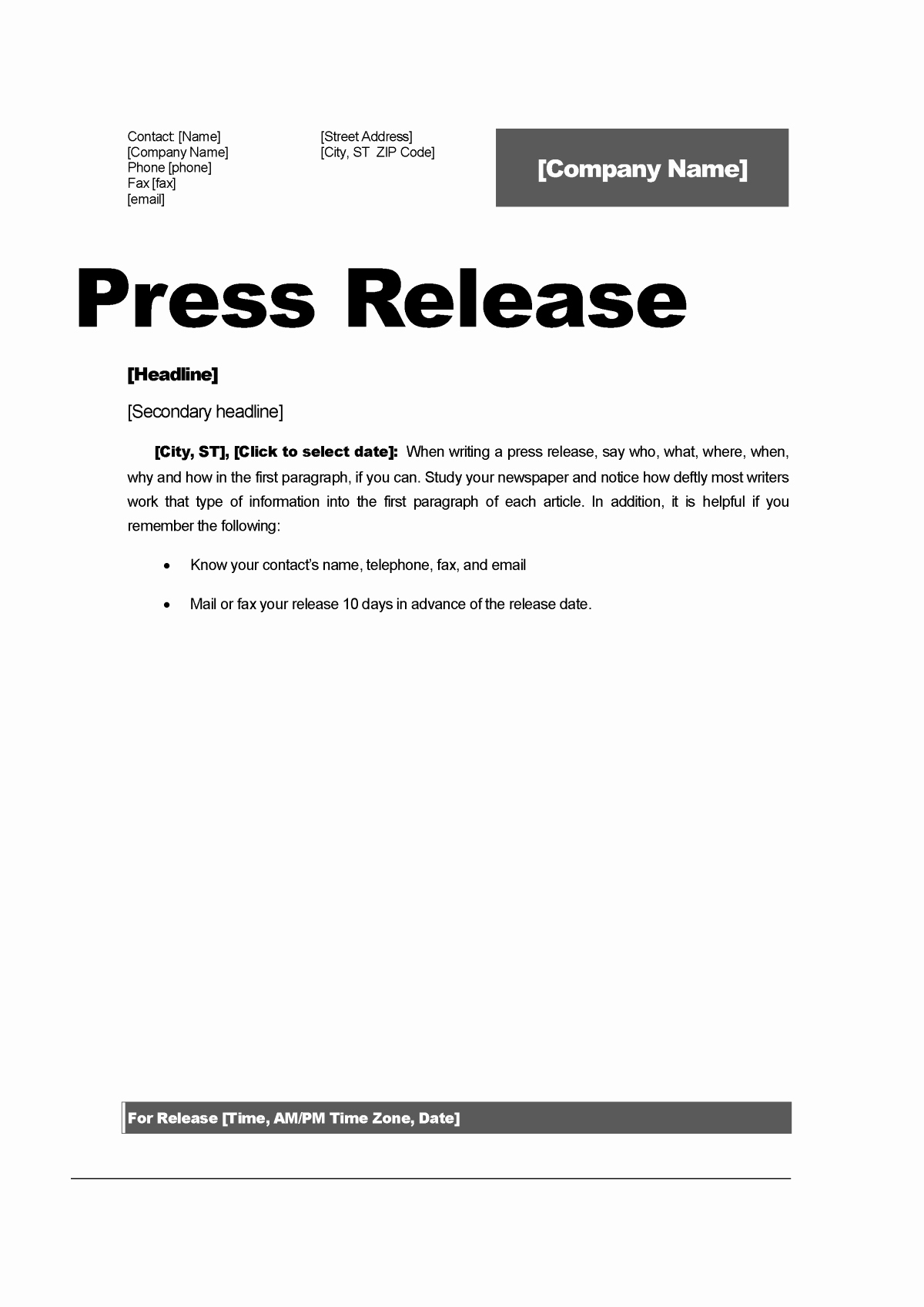 Top 5 Resources to Get Free Press Release Templates Word