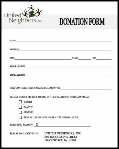 Top 5 Samples Donation form Templates Word Templates