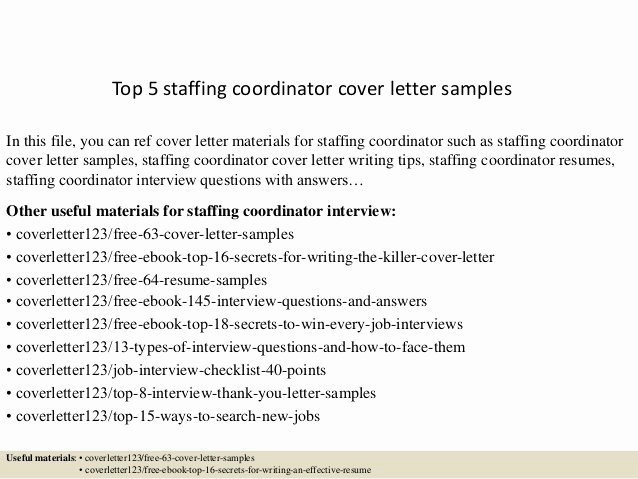 Top 5 Staffing Coordinator Cover Letter Samples