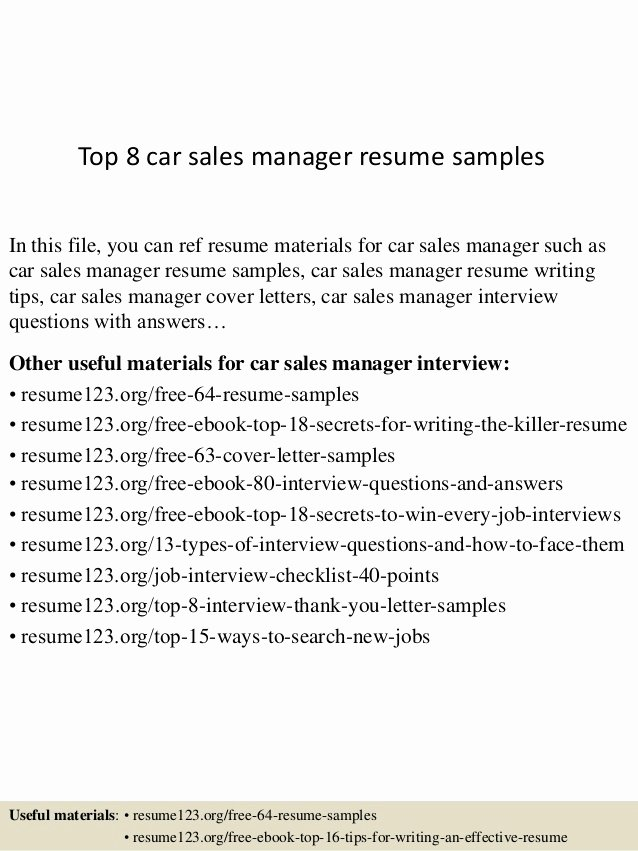 Top 8 Car Sales Manager Resume Samples