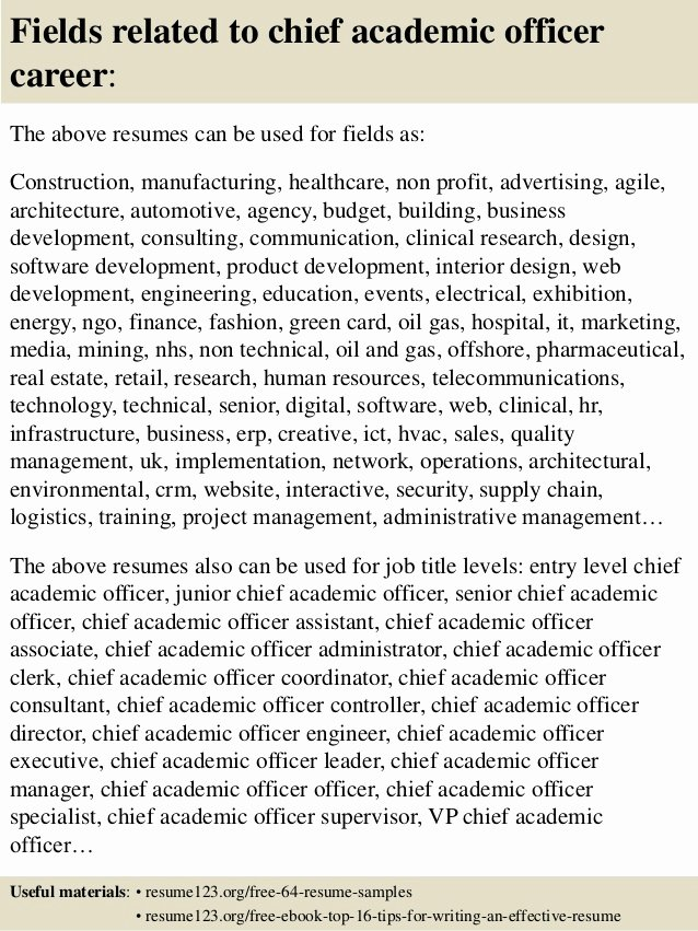 Top 8 Chief Academic Officer Resume Samples