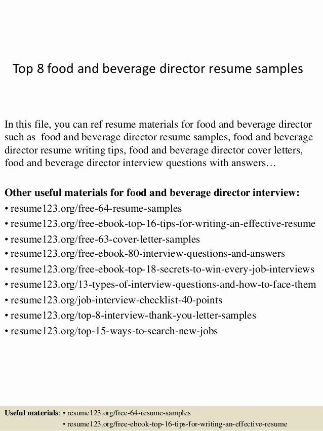 Top 8 Food and Beverage Director Resume Samples