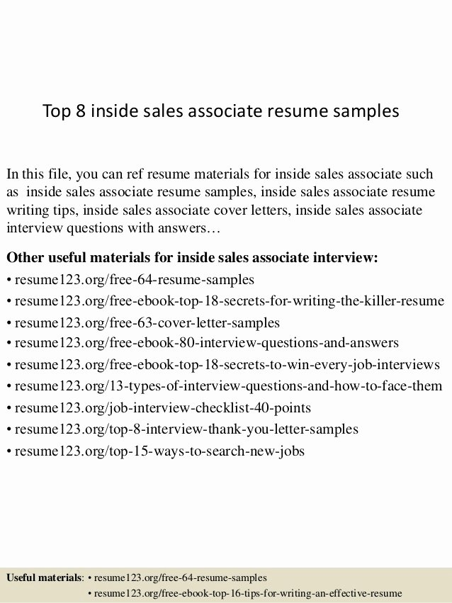 Top 8 Inside Sales associate Resume Samples
