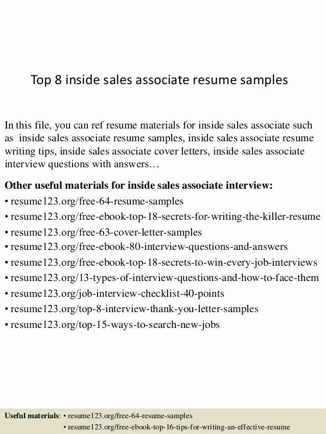 Top 8 Inside Sales associate Resume Samples