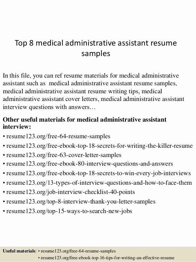 Top 8 Medical Administrative assistant Resume Samples