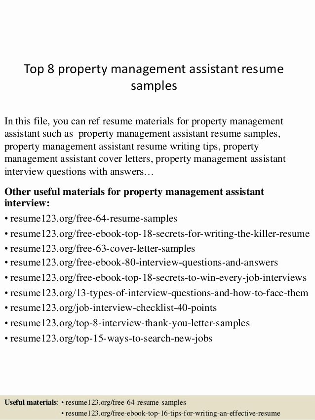 Top 8 Property Management assistant Resume Samples