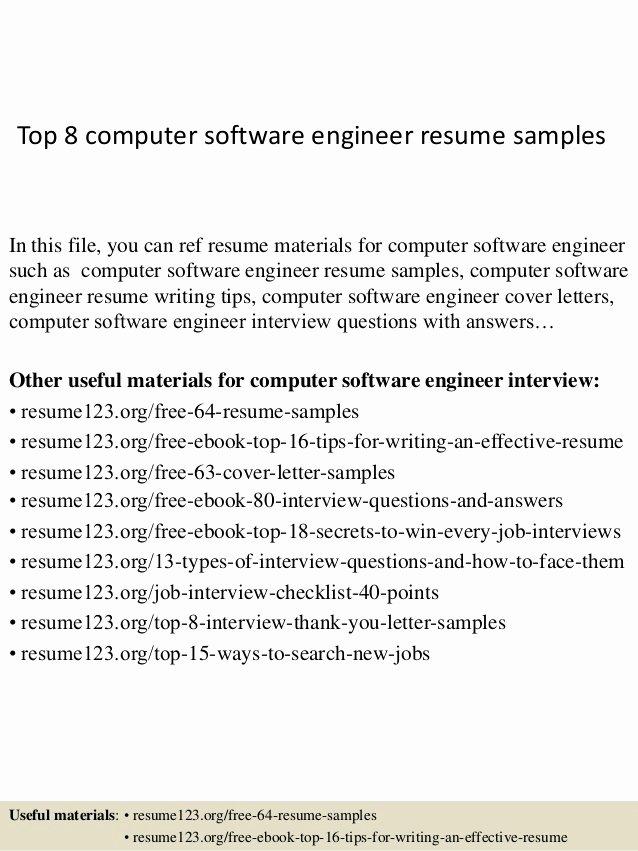 Top 8 Puter software Engineer Resume Samples