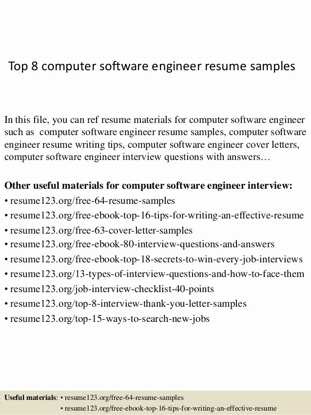 Top 8 Puter software Engineer Resume Samples