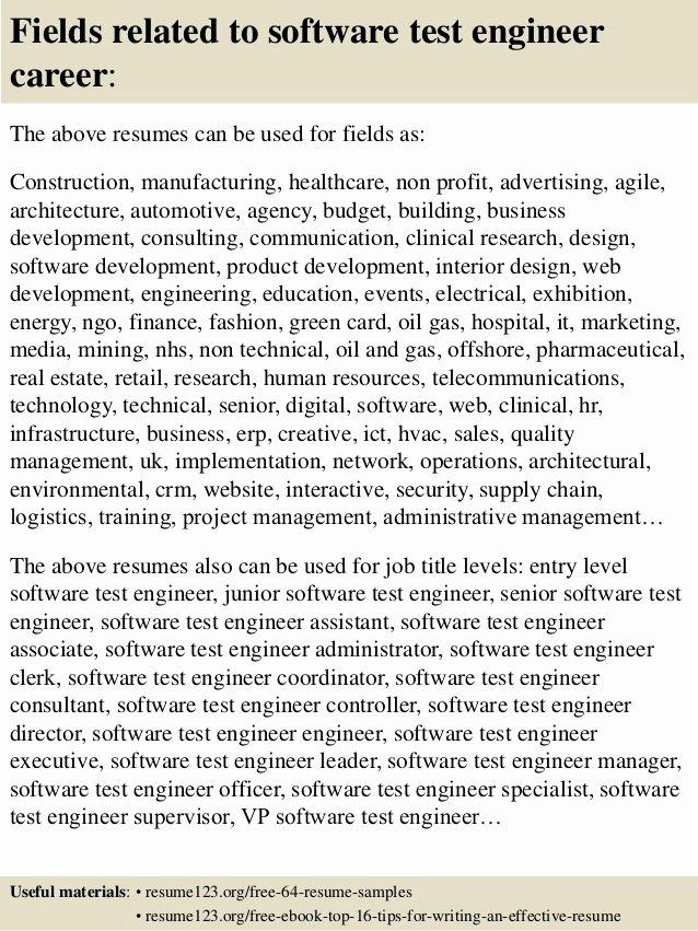 Top 8 software Test Engineer Resume Samples