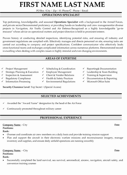 Top Military Resume Templates & Samples