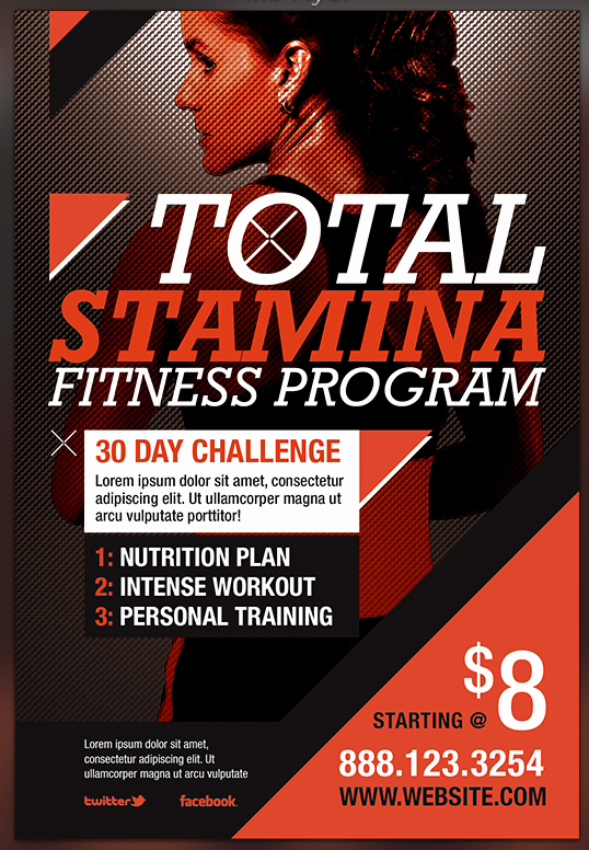 Total Stamina Fitness Flyer Template Preview by
