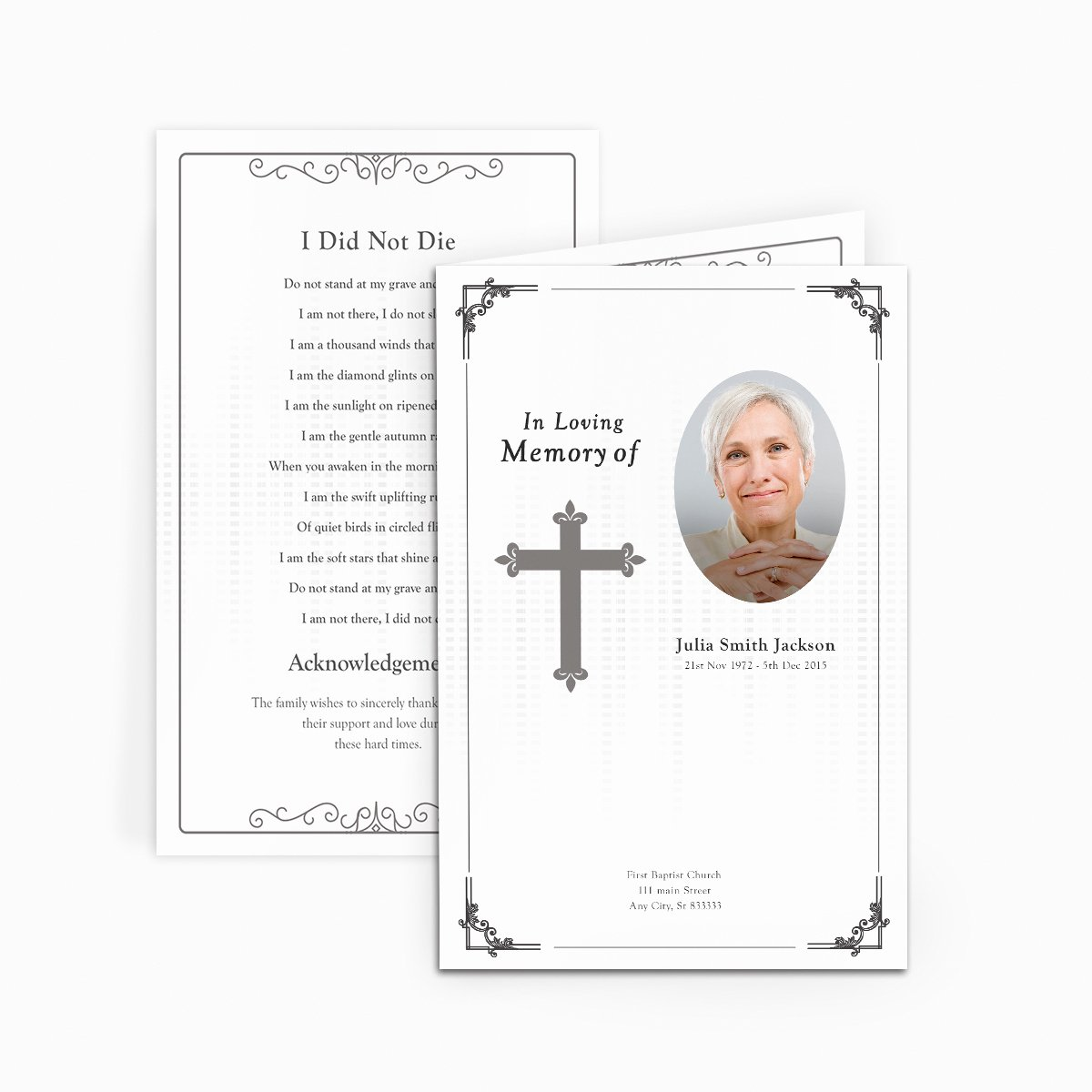 Traditional Cross Funeral Card Funeral Pamphlets