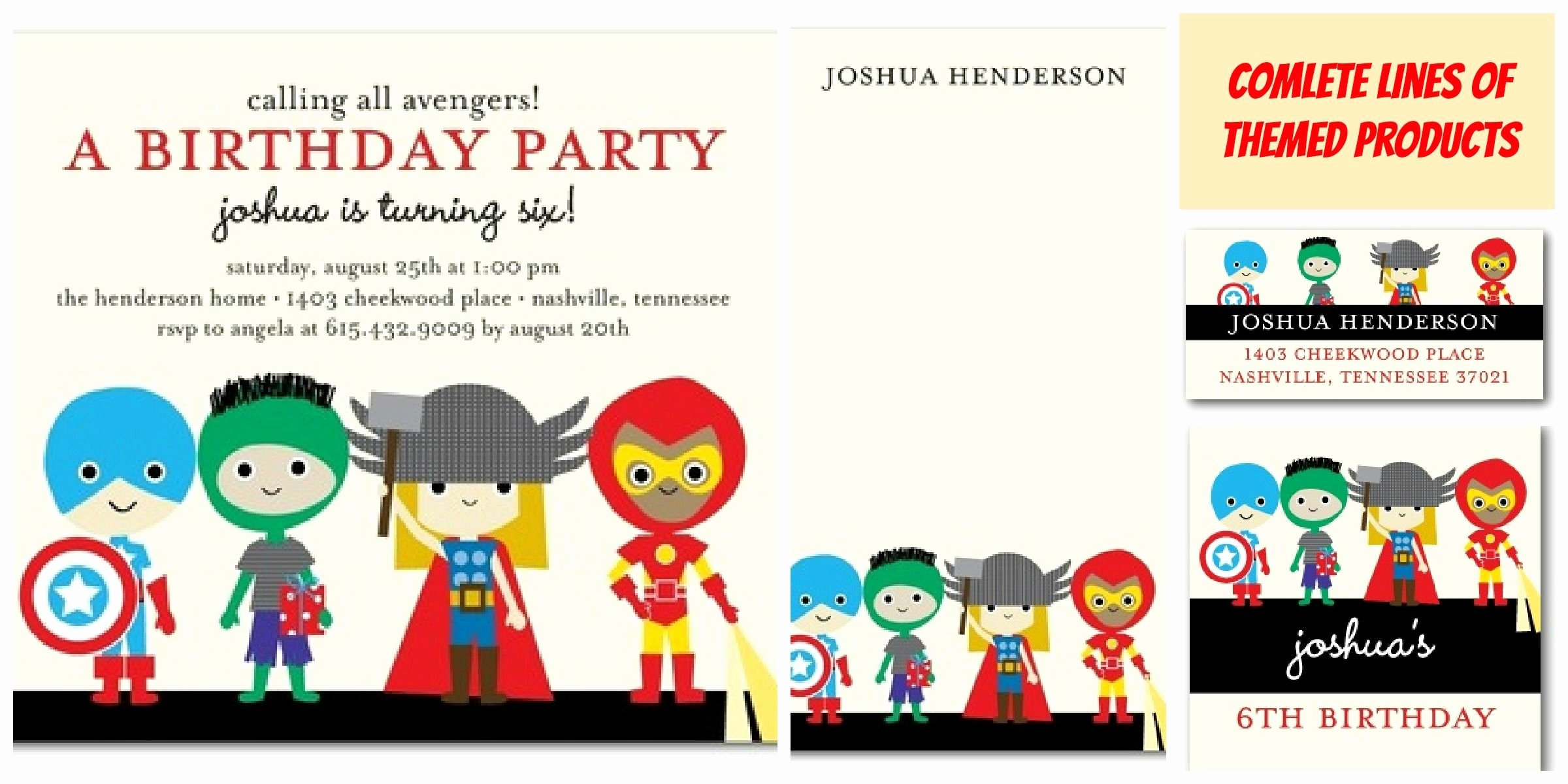 Traditional Superhero Birthday Party Invitations Templates