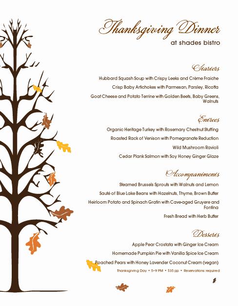 Traditional Thanksgiving Menu