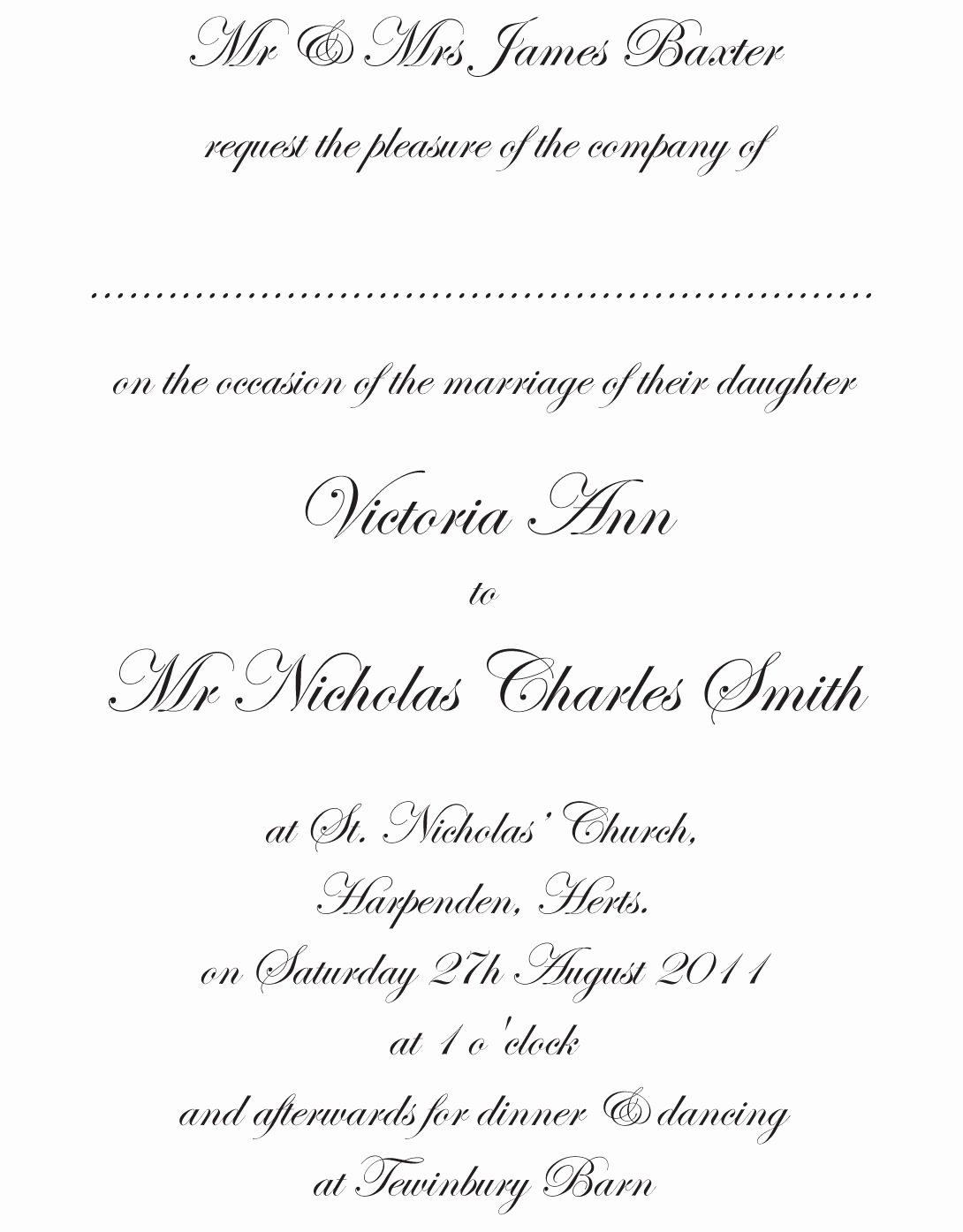 Traditional Wedding Invitation Wording Template
