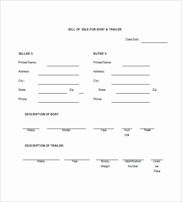 Trailer Bill Of Sale – 8 Free Sample Example format