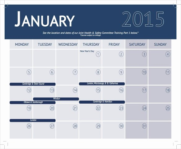 Training Calendar Template – 25 Free Word Pdf Psd