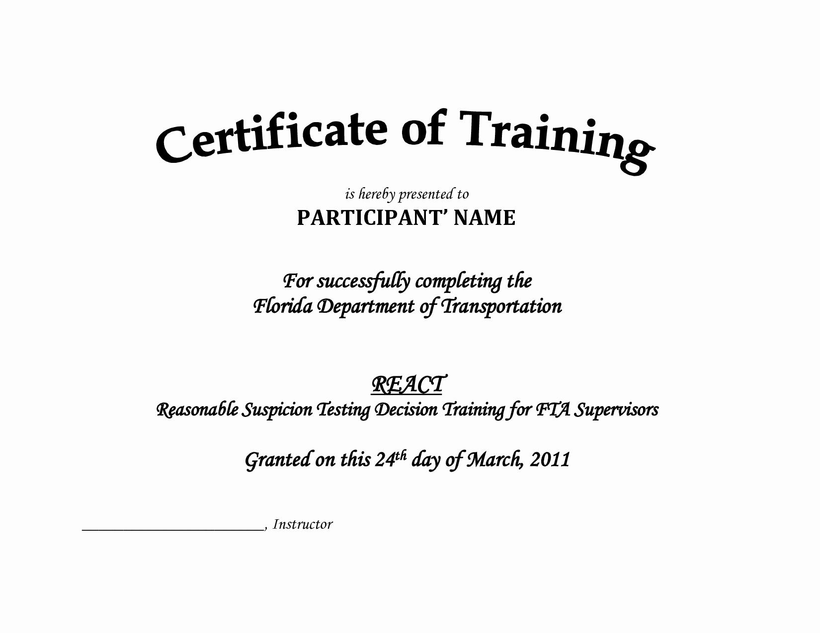 Training Certificate Template Pdf