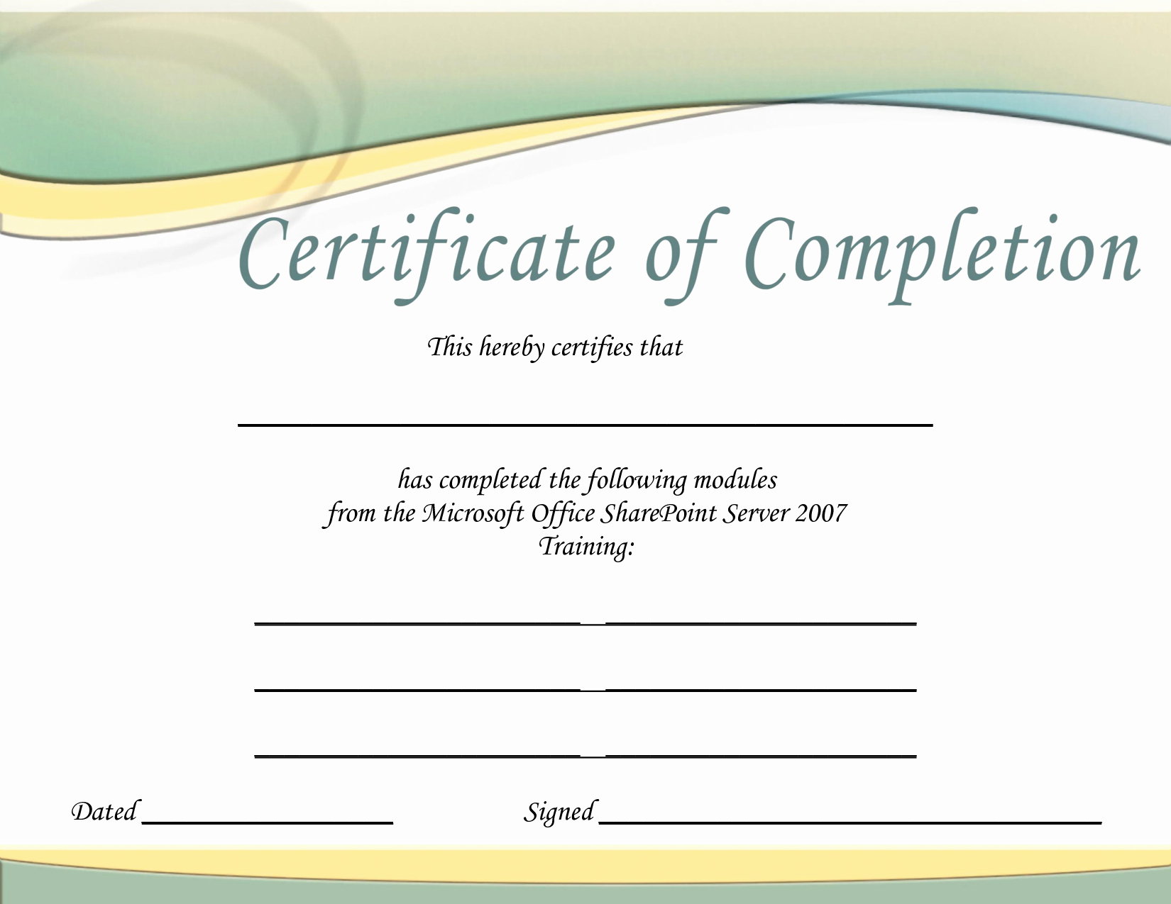 Training Certificate Template Printable Microsoft Office Doc