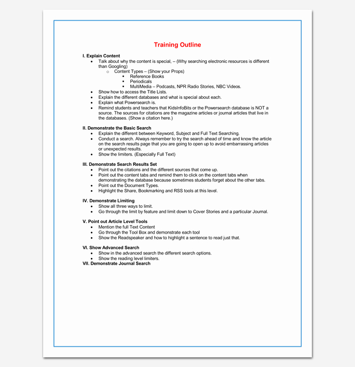 Training Course Outline Template 24 Free for Word & Pdf