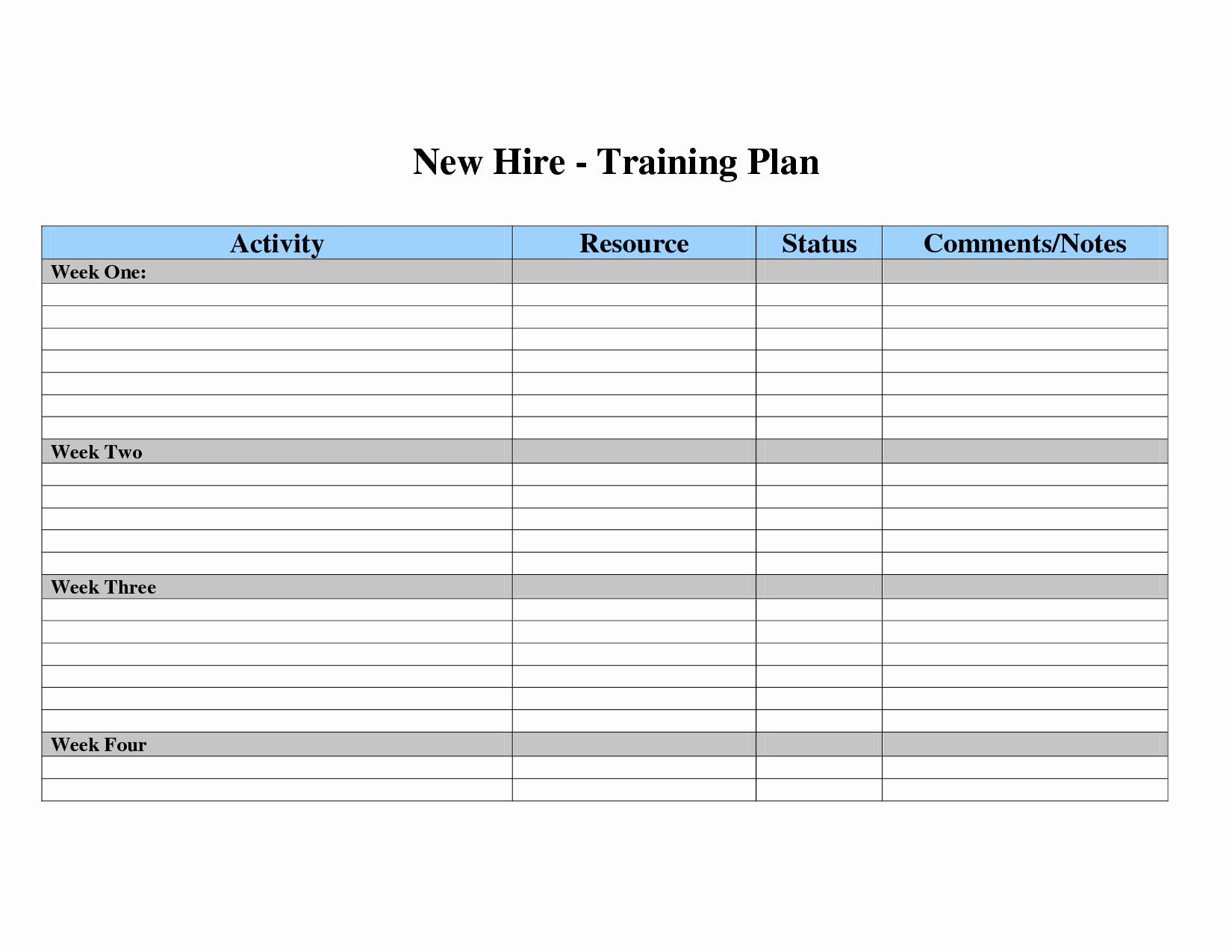 Training Plan Template