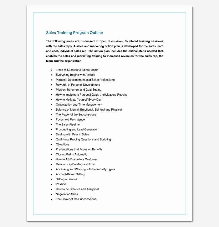 Training Program Outline Template 19 for Word & Pdf