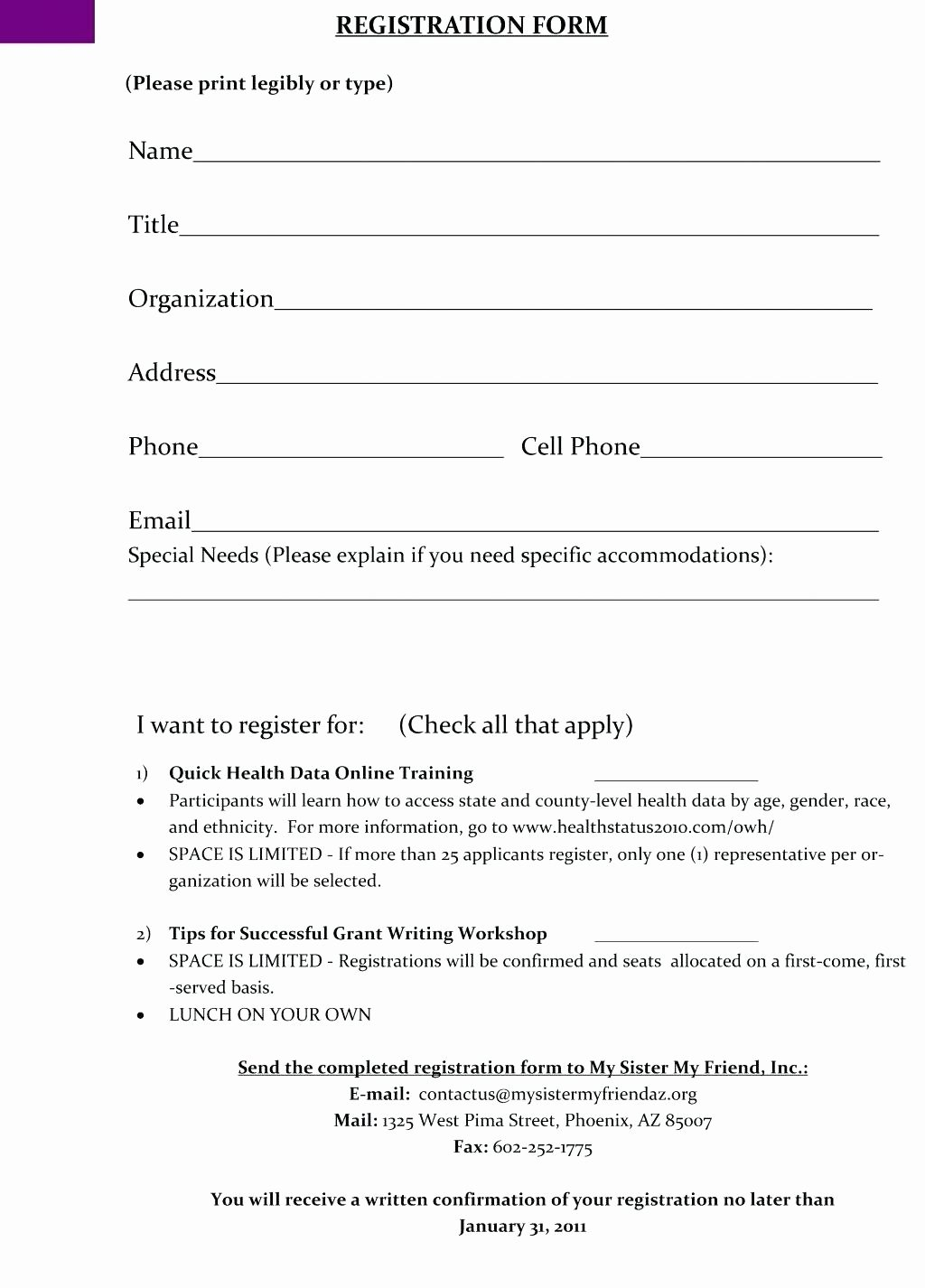 Training Registration form Template