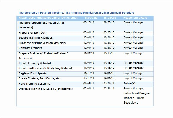 Training Schedule Template 7 Free Sample Example