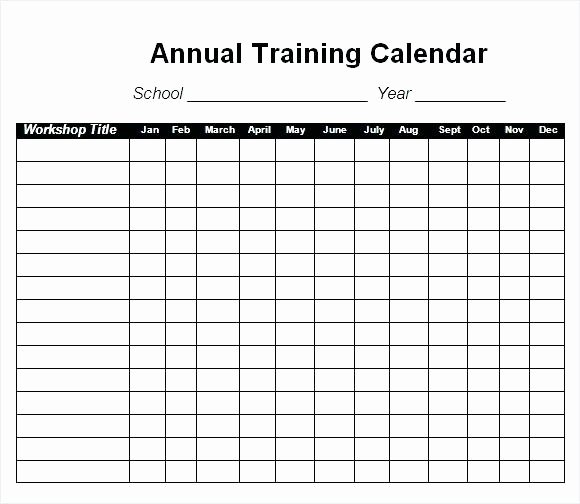 Training Schedule Template Excel Impressive Annual
