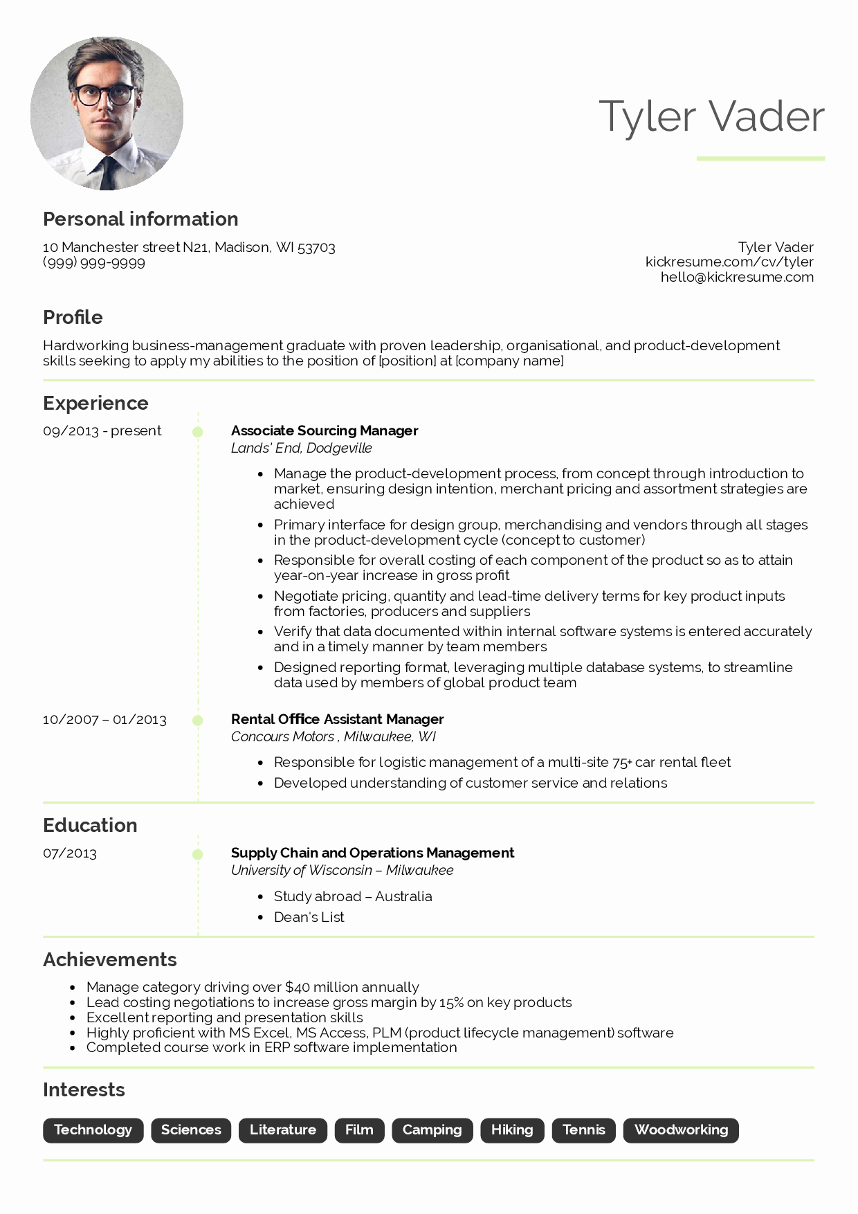 Transform Resume Business Manager Sample About Business