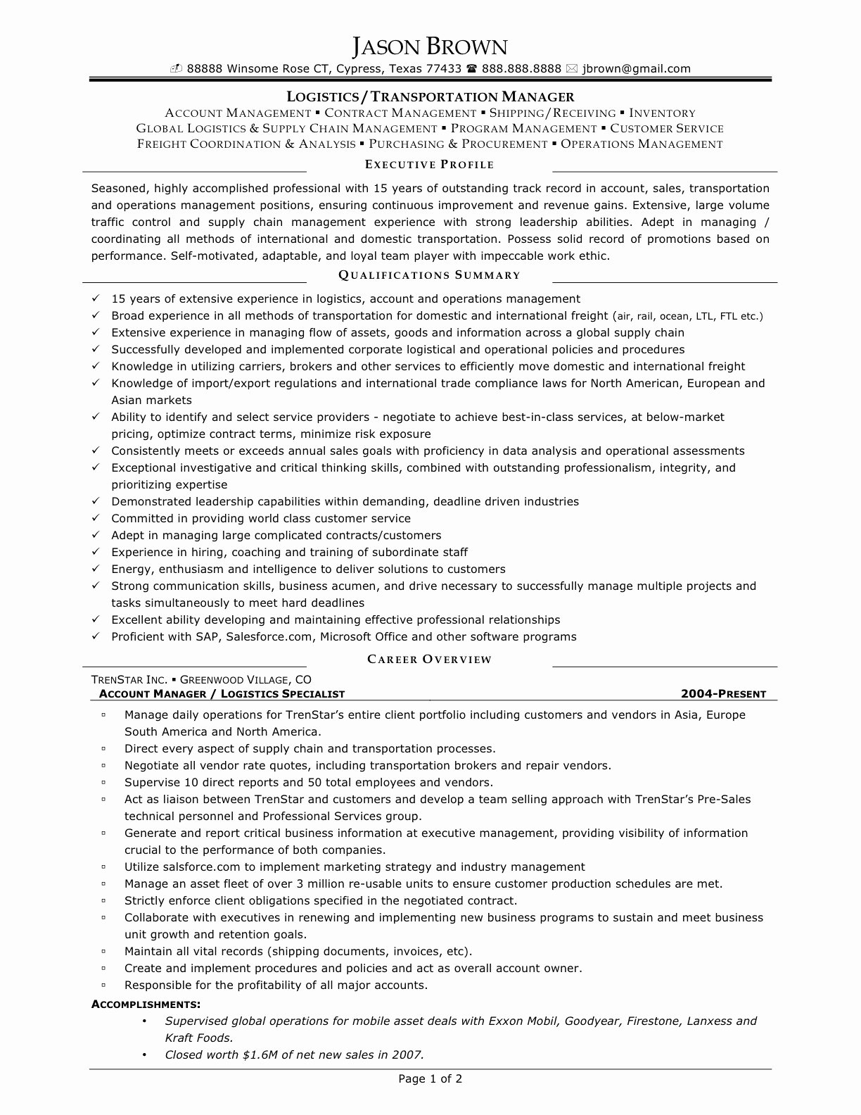 Transportation Resume Cover Letter Sample Transportation