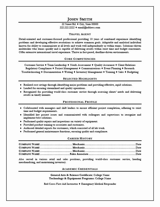 Travel Agent Resume Sample Best Resume Collection