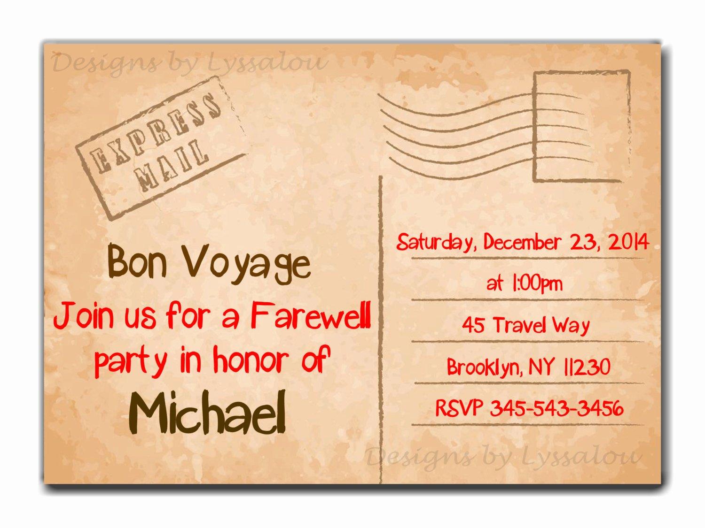 Travel Farewell Party Invitation Bon Voyage Going Away