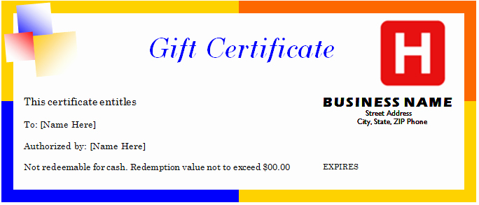 Travel Gift Certificate Template for Word