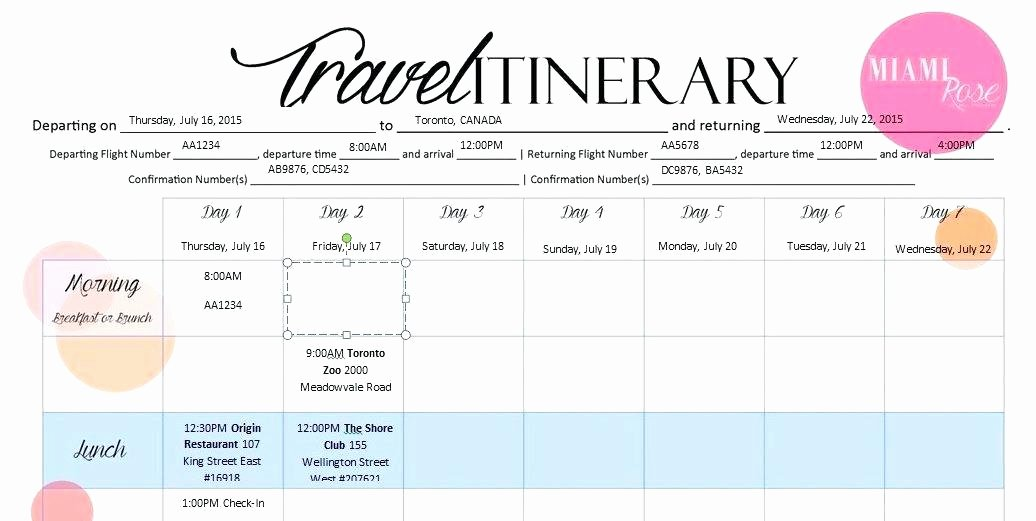 Travel Itinerary Template 6 Templates Word Excel Google