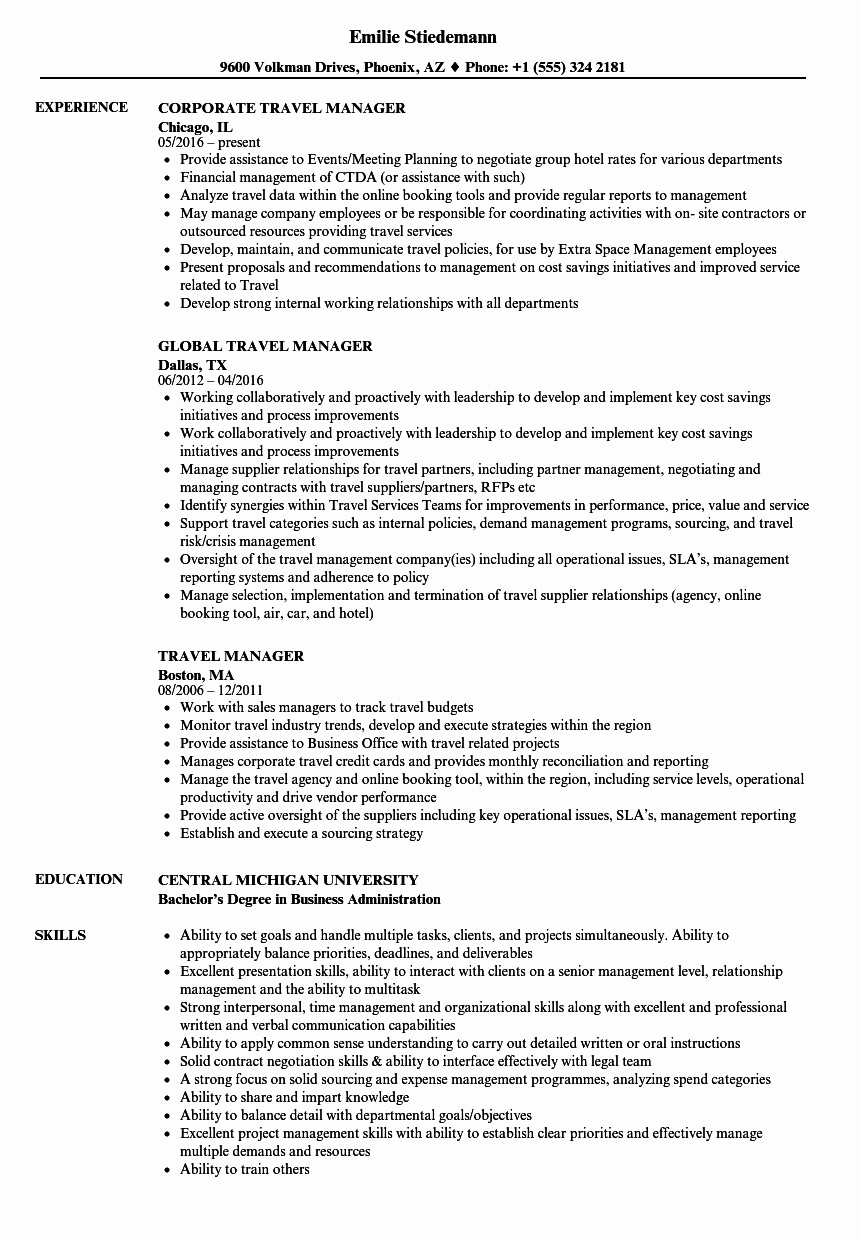 Travel Manager Resume Samples
